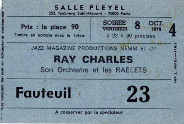 Concert-Ticket-stub-Salle-Pleyel-Paris-FR-Ray-Charles-coll-Jean-Francis-Merle-19761008-22h30